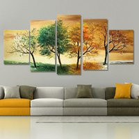Wholesale Handpainted Piece Modern Landscape Decorative Season Tree Pictures Oil Paintings On canvas Wall Art For Home Decoration