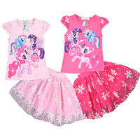 character appliques - DHL Color Girls My little pony lace Suits new children Short sleeved T shirt Short skirt Suit baby clothes B001