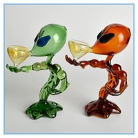 alien yellow - 2015 New quot Alien Glass Pipe Black Green Brown Smoking Pipe Glass Bubbler Glass Bong Oil Rig Water Tobacco Pipe YS Y911
