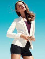 Women Blazer Lapel Neck Wholesale-2016 New Fashion Brand Blazer Women Suit Solid Color High Street Jackets Coat Office Lady Business Female Cool Blazers Plus Size