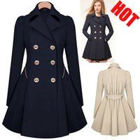 Wholesale High Grade Womens Elegant Warm Coat Slim Fit Double breasted Trench Long Jacket Dress Style Outwear Sweety Lady Overcoat