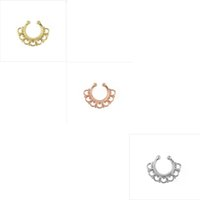 Wholesale 10pcs faux septum Medical Nostril Gold Silver Nose Hoop nose ring piercing fake nose stud on Body Piercing Jewelry For Women N0021