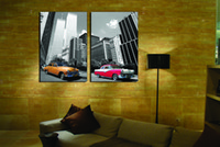ad pictures - 2 Pieces Home decoration paint on Canvas Prints Audrey Hepburn Marilyn Monroe LED display ads Sexy Female star automobile Tall buildings