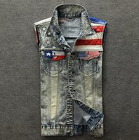 american flag jean jacket - Fall New fashion mens denim vest plus size sleeveless jacket waistcoat jean vest for men american flag tank top M XL