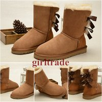 Cheap Free Shipping Wholesale Cheap Famous Australia 1002954 CHESTNUT Leather Ankle Boots Womens Bailey Bow Snow Boots Wool inside Winter Boots
