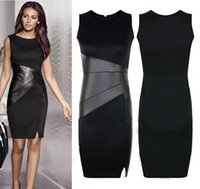Wholesale 2015 New Celebrity Slim OL Leather Patchwork Casual Pencil Dress Sexy Bodycon Sleeveless Fashion Dress Vestido
