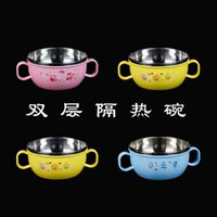 Wholesale 2015 Best Selling Kids Break resistant Stainless Steel Bowl Colorful double wall Kids Bowls School Bowls for Children