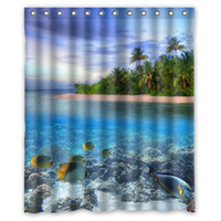 beautiful islands - High Quality Modern Design Polyester Bath Screen Print Beautiful Island Scenery Shower Curtain Waterproof quot x quot With Hooks