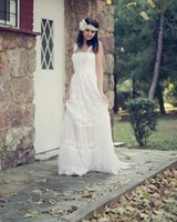 Wholesale Romantic Spaghetti Straps White Backless Custom Made A line Country Wedding Dresses