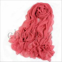 silk scarf solid color - Lady Imitated Silk Fabric Shawls Silk Chiffon Lace Sexy Women Solid Color Scarf Gift C1429