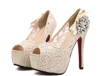 Wholesale Sheer Lace Wedding Bridal Shoes Sandals Peep Toe High Heels cm Platform cm Beaded Shoes With Ribbon Bow