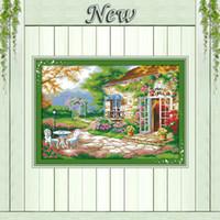 beautiful backyards - Beautiful Romantic backyard garden CT printed on canvas Cross Stitch kits needlework embroider Sets CT DMC Scenic Home Decor