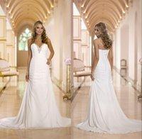 Cheap 2015 New Sweetheart Ivory Beach Wedding Dresses Gown Beaded Neckline Chiffon Floor Length vestidos de noiva Free Shipping