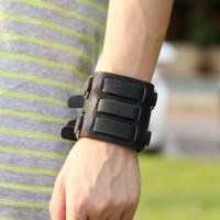 belt findings - 3 row leather bangle belt buckle bracelet Rock style wristband fashion jewelry for men bracelet jewelry findings