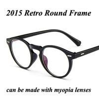 Al por mayor-2015 Marco I-brillante redondo retro Nueva Moda Gafas Marca Remache Diseño Gafas Miopía marco gafas de prescripción de los hombres