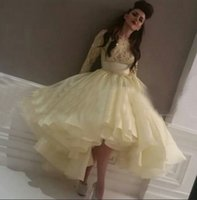 yellow ball gown prom dresses - 2015 Prom Dress Yellow Sparking Beading Bodice Long Sleeve Organza Ball Gown Tea Length Evening Gowns dhyz