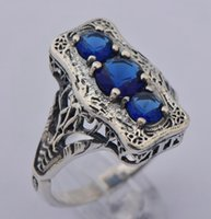 Wholesale Hot selling sterling silver jewelry female ancient silver carving decorative pattern design of sapphire ring rings