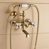 bathtub faucet with sprayer - Golden Dual Cross Handles Bathtub Shower Faucet Wall Mount Bathroom Tub Faucet with Handheld Sprayer