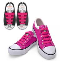 Wholesale 1Set Shoelaces Novelty No Tie Shoelaces Unisex Elastic Silicone Shoe Laces For Men Women All Sneakers Fit Strap