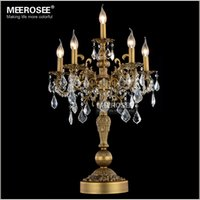 candelabra wedding - Luxurious Bronze Color Crystal Table Light Desk Light Wedding Candelabra