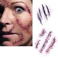 Wholesale Free Ship Waterproof Simulation Halloween Zombie Scars Temporary Tattoos Stickers With Fake Scab Blood Special Fx Costume Makeup