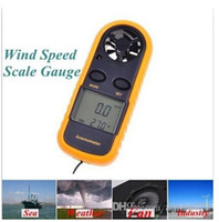 Wholesale GM816 m s MPH LCD Digital Hand held Beaufort Wind Speed Gauge Meter Scale Anemometer Thermometer Anti wrestling Measure top sale