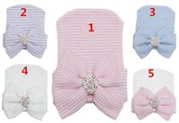 Wholesale Newborn Baby Crochet Cap Colors Newborn Hats Infant Diamond Bowknot Beanie Baby Spring Autumn Warn Hat Christmas Gift