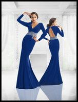 Wholesale Knee Length Sexy Trumpet Wedding - Sexy Royal Blue Long Sleeve Mother Of The Bride Dresses Chiffon Mother's Formal Wear Backless Wedding Party Gowns Dress Brautmutterkleider