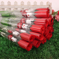 bear roses - Hot Sale Simulation Heart shaped Love Rose Flower Single Red Roses Cartoon Bear Valentine s Day Gift Wedding Supplies