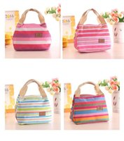 Wholesale 50pcs Striped Zipper Dacron Casual Women Kids Lunch Bag Outside Picnic Food Packaging Handbag Tote Sale bags Mixed color By Fedex