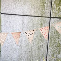 airline lines - Polka Dot Wedding Flag Banner Party Decorations Line Fabric Banner Bunting Flags Triangle Style Marriage Decorations For Weddings