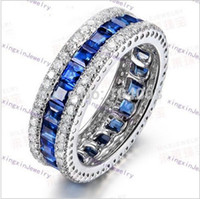 big blue rings - Women Fashion Jewelry KT White Gold Filled Finger Rings Ladies Blue Sapphire Size Big Promotion D1583