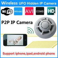 Wholesale Original P IP Camera Spy Smoke Detector WiFi Wireless UFO Hidden Camera Camcorder P2P Video DVR for IPhone Ipad Android Phone