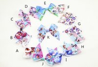 "Hair Bows Chemical Fiber Character 100pcs girl ABC basis Frozen Latest 3"" girls hair bows flower clips baby character cartoon Elsa Anna princess hair band accessory HD3381"