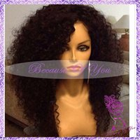 french lace for wigs - Brazilian afro kinky curly full lace wig with baby hair bangs virgin hair glueless full lace human hair wigs for black women