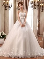beaded organza trim - 2016 New Arrival custom Lace Strapless Hand beaded trim Chapel Train Ball Gown Wedding Dress Bridal Gowns
