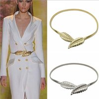 allied material - Women luxury designer Belts buckles elastic leaves decoration belt buckles ally material new arrival