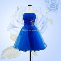 Cheap Organza fashion sexy strapless prom evening gowns short with the new 2014 Lace-up wedding bridesmaids dresses