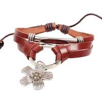 achat en gros de bracelet en cuir nœuds de charme-Lucky Knot Bracelet de fleur Snap Bijoux Bracelets en cuir pour Femmes Multilayer Infinity Black Bracelet Charm pour hommes