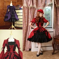 Anime Costumes japanese dress style - Classic Short Sleeves Ruffled Gothic Lolita Dresses Western style clothes Cosplay Lolita Fancy Dress Prom Dress Halloween Costume