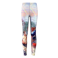 sexy cartoon girl - Free size Women Black milk fashion sexy cartoon Beauty and the Beast prints elastic bodybuilding sexy Girl Leggings Pants