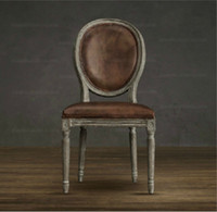 Wholesale American French countryside furniture vintage solid wood genuine leather Italian leather ellipse back arm dining chair color