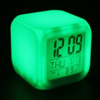 Wholesale 20pcs Cube Glowing Led Colors Changing Digital Alarm Clocks Display Time Date Week Temperature WCS_487