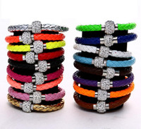 magnetic beads - Mix Color New Shamballa PU Leather Bracelet CZ Disco Crystal Magnetic Clasp Bracelet colors