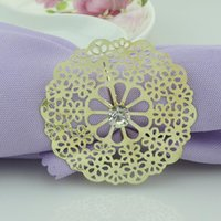 crystal napkin ring - Fashion Gold Metal Lotus Flower Napkin Rings with Wedding Crystal napkin rings holder for Hotel Wedding Banquet Table Decoration Accessories