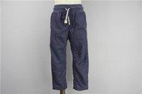 Wholesale Children Casual Pants Cotton Plus sweat pants Washed Pant Flat front Slant pockets Snap button Side band Machine Wash