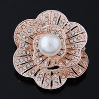 artificial plants china - New Fashion Womens Brooches Pins Vintage Rhinestone Artificial pearls petals large Brooch Wedding Party Jewelry Accessories party dress jewe