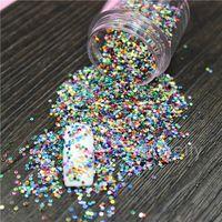 nail art glitter - 1 Box Mini Colorful Nail Glitter Powder Sheets Nail Dust Tips Mixed Round Nail Art Decoration