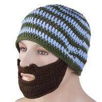 Wholesale New Hats Beanie Skull Caps Bearded Wool Knitted Hats Beard Knitted Hat Warmer Ski Bike Skull Hat Unisex Men Beard Cap Christmas Gifts