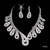 wedding jewelry - 2015 Bridal Jewelry Wedding Bridal Rhinestone Accessories Necklace and Earring Ear Stud Style Sets Silver Plated New Without Tags